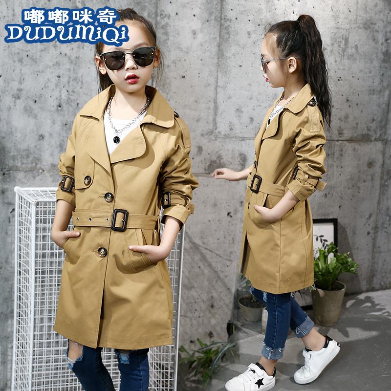 春秋季长款韩版外套单排扣儿童棉混纺布纯色女童西装领中长款风衣
