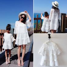 網紅親子裝公主裙母女裝洋氣 韓國沙灘裙母女寬松白色花邊連衣裙