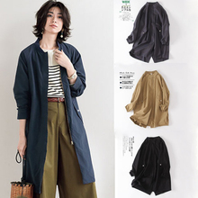 Japanese Women's Clothing 2019 New Simple Loose Jacket Spring and Autumn with Pure Overize Pure Cotton Windshield