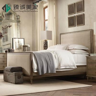 美式乡村1.8米橡木双人全实木床复古做旧法式别墅简美软包布艺床有实体店吗