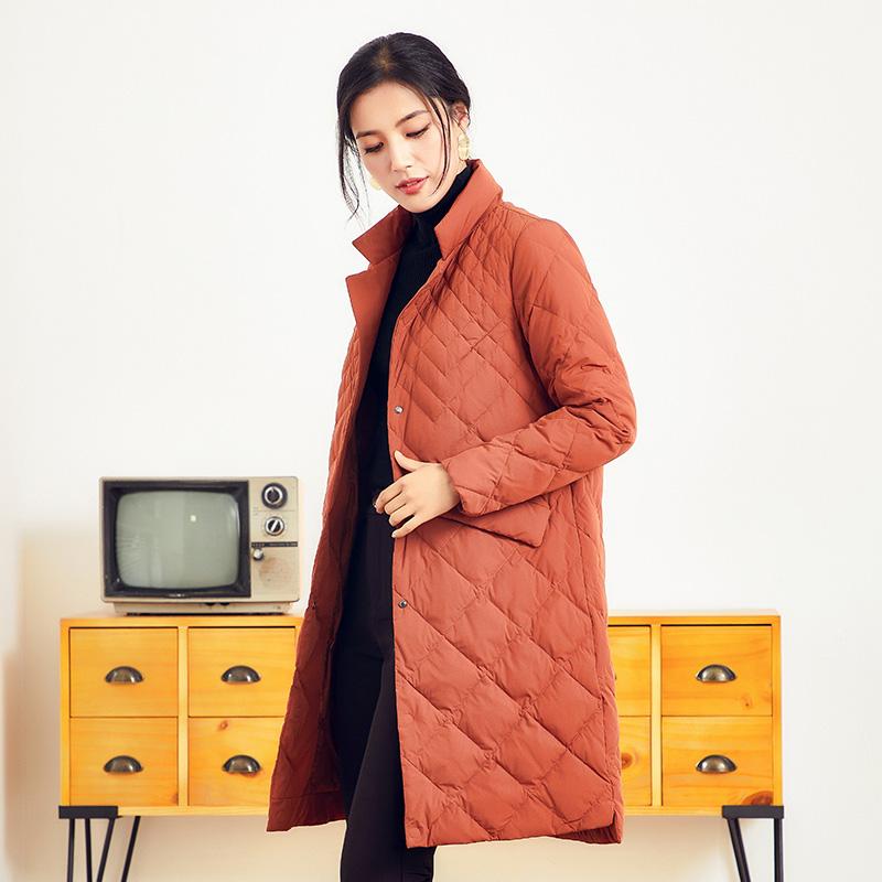 【预售】千仞岗2018新品西装领轻薄羽绒服女中长款显瘦外套229066