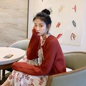 梅子熟了 文艺红色开衫毛衣女 复古针织衫短款外套2019春季新款