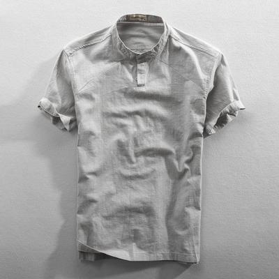 2019夏季新款男士休闲亚麻短袖衬衫立领纯色棉麻衬衣薄款透气上衣