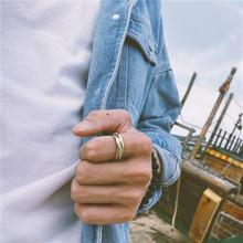 18AW潮牌三色环彩金戒指男女镀金食指戒子钛钢不褪色百搭饰品指环