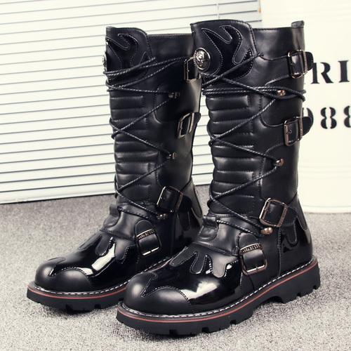 春季高靴长靴男靴子韩版圆头高帮皮靴英伦马丁靴时尚潮靴子牛仔靴