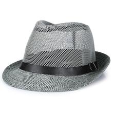 中老年人夏季帽子男士 礼帽爸爸防晒透气亚麻草帽凉帽爷爷户外网帽