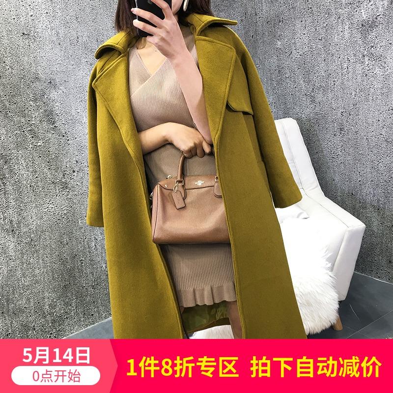 黄色大衣系带女