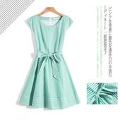 紫系列! 色织条纹  圆领 腰带 连衣裙