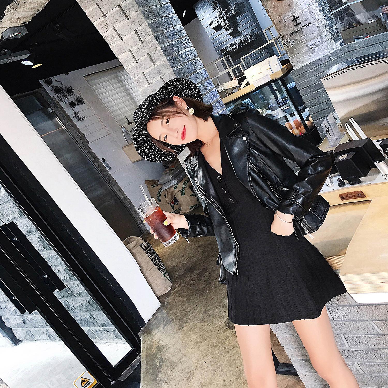 2018秋季韩版新款机车服chic皮衣女港风短款pu皮外套修身夹克显瘦