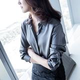 缎面休闲气质衬衫女长袖衬衣宽松中长款2019新款女装灰色丝绸上衣