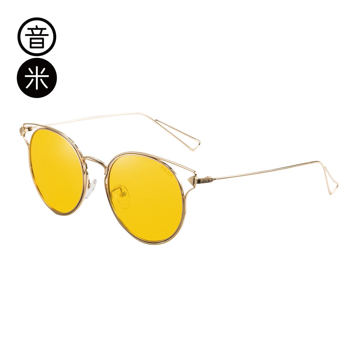 音米墨镜女偏光太阳镜女圆脸驾驶镜配近视明星墨镜inmix太阳眼镜