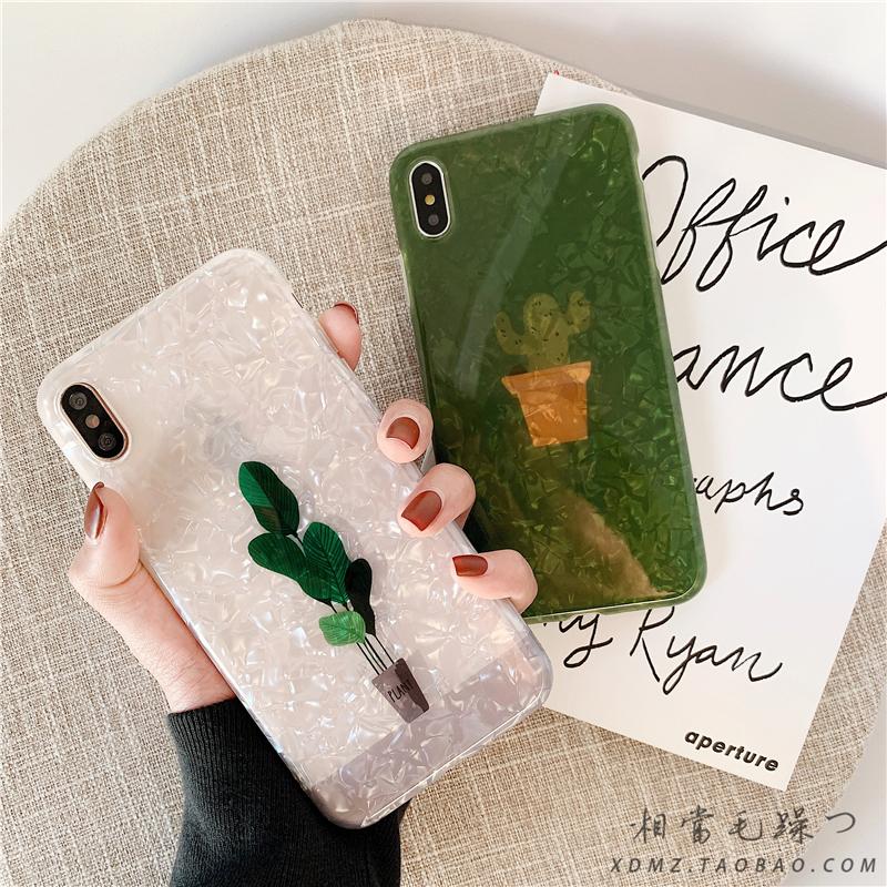 夏季仙人掌贝壳纹iPhone6s手机壳7P软xs max苹果x绿色8plus网红xr