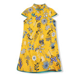 雅童小铺 Yellow wildflowers girls cotton cheongsam dress 2019 summer new Chinese children's dresses