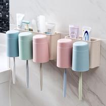 免打孔壁挂牙刷架漱口杯洗漱套装创意牙膏牙刷置物架牙杯架牙膏架