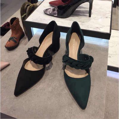 正品单鞋CK1-61680011尖头复古链条粗高跟鞋小ck女鞋