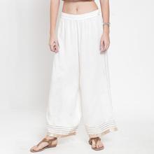 印度进口阔腿裤 绵绸烫金搭印度上衣民族风白色春夏吸汗透气 均码