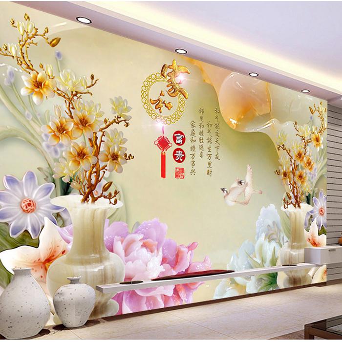 无缝大型壁画墙布中式雕玉3d立体电视背景墙壁纸客厅沙发影视墙纸