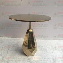 创意金色不锈钢圆台圆几圆吧台桌KTV酒吧奶茶甜品店咖啡桌小餐桌