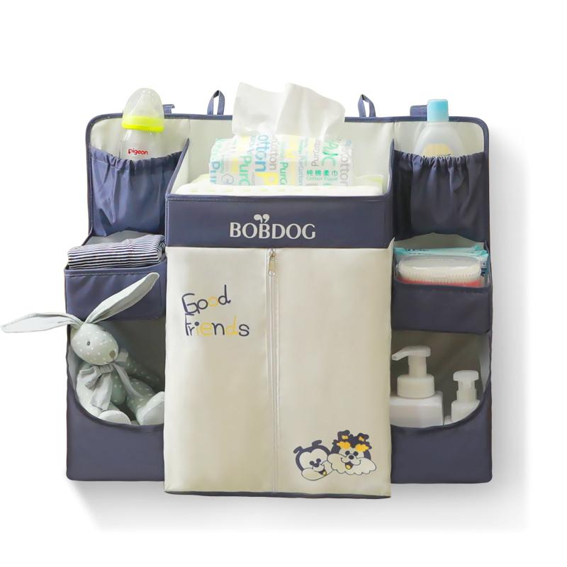 巴布豆婴儿床挂袋收纳袋床边尿布尿片袋储物袋多功能床头置物架