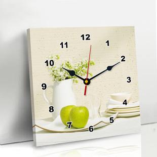 现代简约客厅装 饰墙画钟表正方形卡通个性 饰画挂钟餐厅装 创意挂画