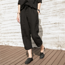 Ma Lin Literature and Art Originally Cotton and Hemp Women's Clothing 2019 Spring and Summer Flax Leisure Trousers Loose Straight Trousers Women's Summer