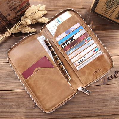 护照包男头层牛皮多功能大容量多卡位证件包真皮机票夹护照保护套