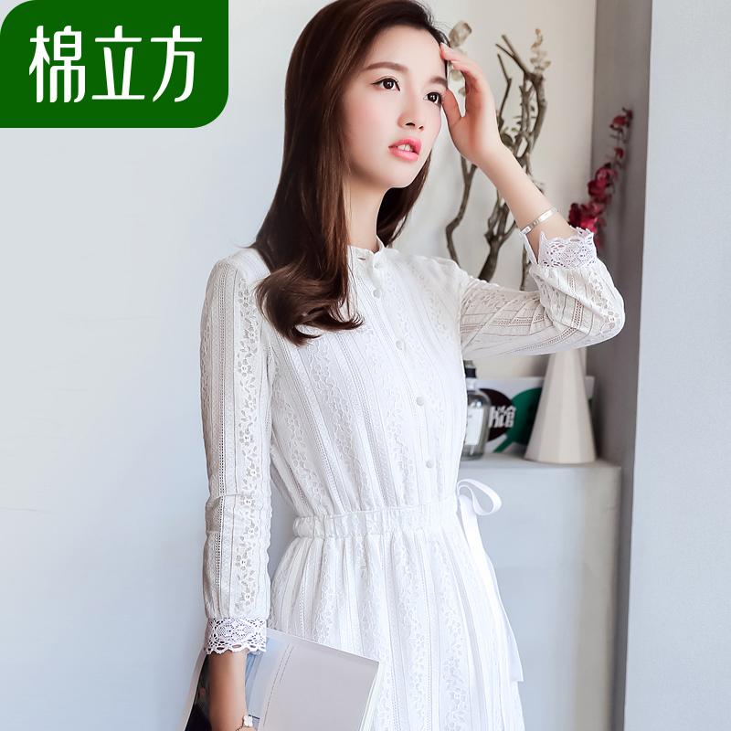 白色蕾丝连衣裙棉