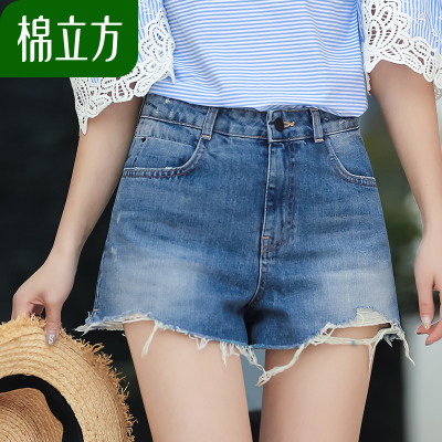不规则牛仔短裤女夏棉立方夏季2018新款女装韩版高腰毛边阔腿裤子