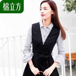 假两件长袖衬衫连衣裙棉立方2018新款女装韩版中长款条纹收腰裙子
