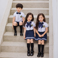 Kindergarten clothing summer short-sleeved large class graduation ceremony photo clothing Korean version of primary school uniforms British class service
