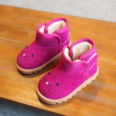 2018冬款儿童棉鞋卡通宝宝雪地靴1235岁男童女童中小童短靴防滑鞋