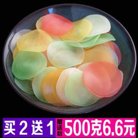 五彩色虾片500g 大连虾条对龙虾片自己油炸 7080后怀旧膨化零食品