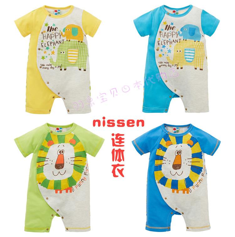 【现货】日本Nissen夏小童小熊大象狮子短袖连体衣爬服