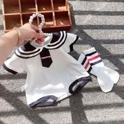韩国婴儿连体衣夏季学院风纯棉爬服哈衣婴儿包屁衣0-1岁369个月秋