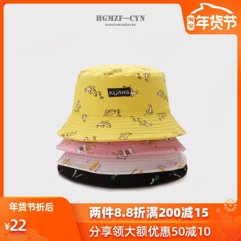 chic帽子女春夏韩版卡通涂鸦双面戴渔夫帽遮阳盆帽休闲百搭文艺帽