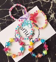 New Korean Children's Jewelry Bracelet Girls Accessories Beautiful Cute Cartoon Flowers Beads Children's Day Gifts