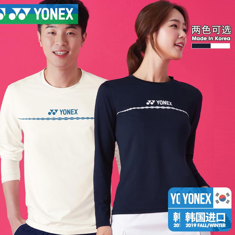 韩国秋冬代购尤尼克斯羽毛球服速干透气圆领长袖T恤多色运动跑步