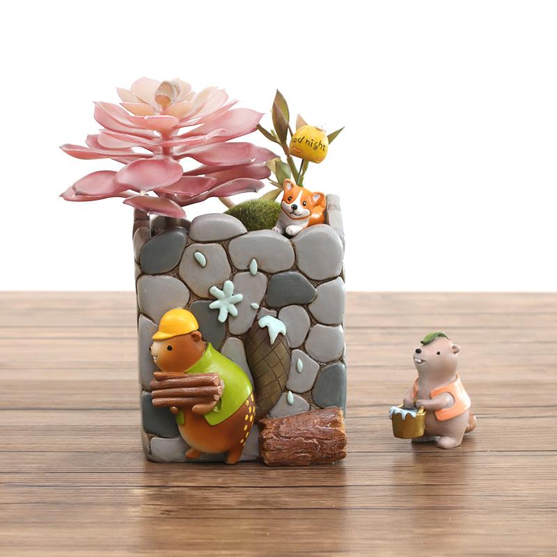 zakka创意可爱动物多肉植物花盆小摆件个性微景观盆栽装饰品花器3元优惠券