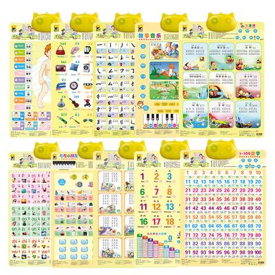 儿童认识拼音字母表幼儿早教书看图识物宝宝学数字挂图有声认知卡