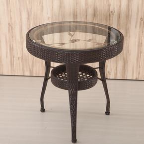 阳台休闲藤桌椅休闲小圆桌子圆形小茶几现代简约室外庭院家具组合