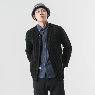 原创日系秋季自制麻花纹针织开衫毛衣男宽松毛衫外套黑色针织衫潮
