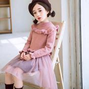 女童装女冬装2018新款加绒加厚毛衣裙儿童纱裙超洋气公主连衣裙子