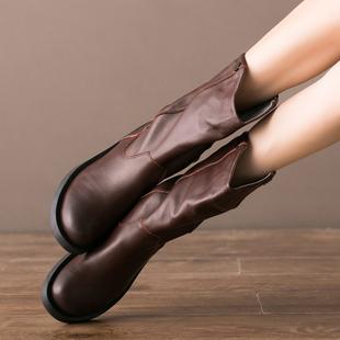 有单靴和棉靴 平底舒适中筒帅气马靴 文艺真牛皮女靴鞋 秋冬新款