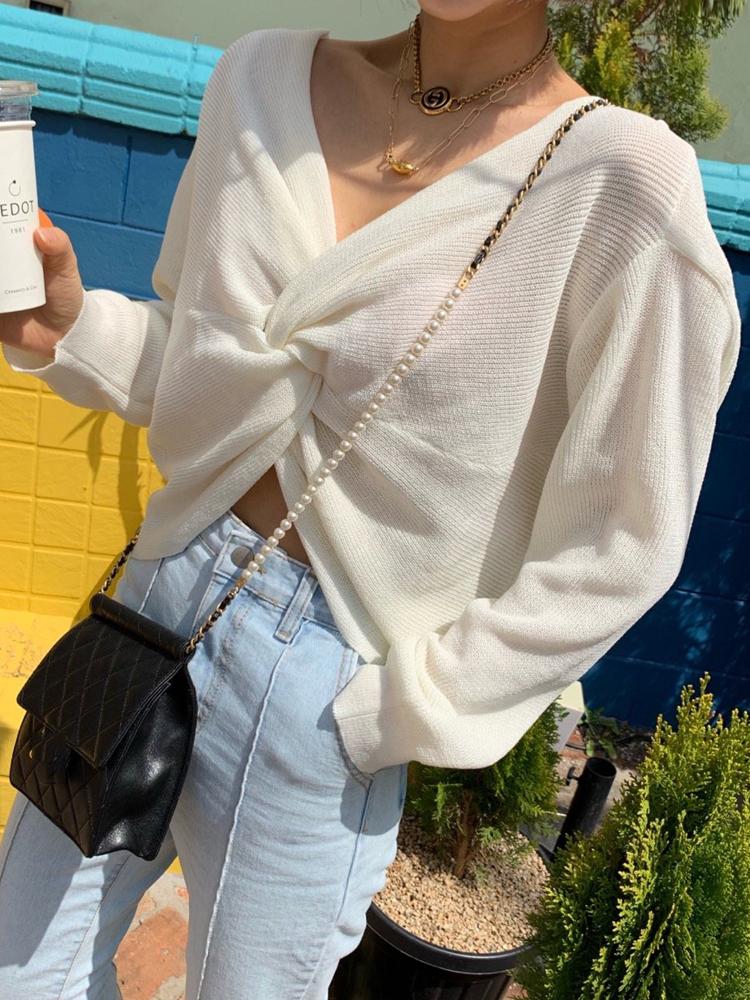 19SS夏 鬼鬼家 韩国女装东大门新款 性感正反两穿纽带针织T恤女