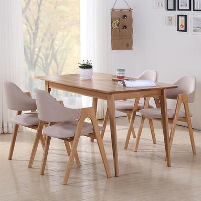 日式全实木餐桌子长方形白橡木客餐厅家具吃饭桌北欧简约4人6人特价