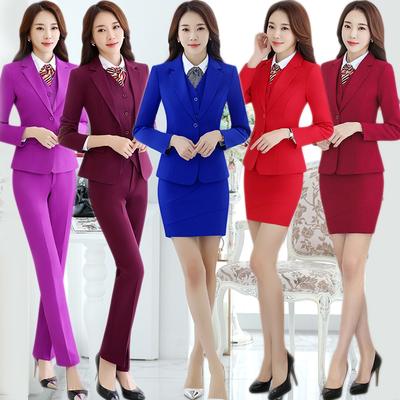 西装套装女韩版职业装套裤修身面试商务正装小西服工作服红色春秋
