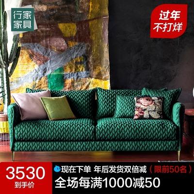 墨绿色沙发小户型三人直排客厅后现代简约北欧丝绒轻奢布艺沙发