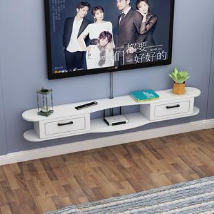 北欧客厅电视柜电视背景墙壁挂装饰隔板置物架机顶盒简约现代实木