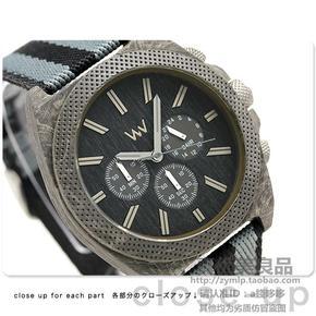 日本代购WEWOOD男款尼龙表带复古实木表盘三眼运动休闲石英手表