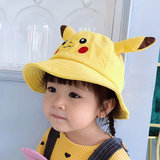 2019 Spring and Autumn Girl Fisherman Hat Cute Pikachu Baby Hat 4 Wicked Velvet Boy's Basin Hat 3 Years Old Child Hat
